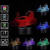samLIKE 3D Nachtlicht Automodell Lamborghini LED Nachtlampe Optical Illusion Lampe 7 Farbwechsel Acryl Panel Eingebaute Batterie USB Tischlampe für Kinder (Schwarz Base)