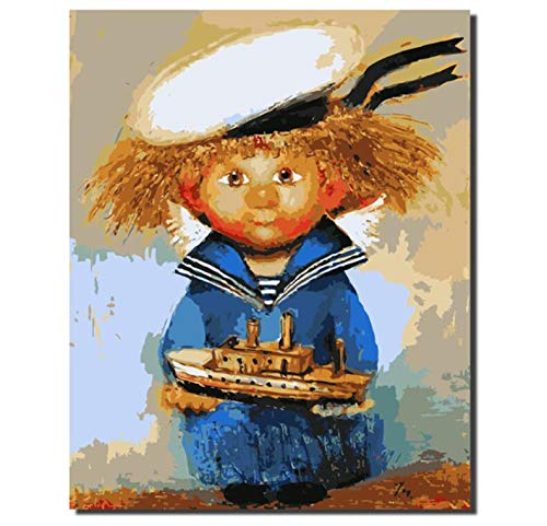 YKCKSD Malen Nach Zahlen DIY Marine Kostüm Vogelscheuche Färbung Nach Zahlen Digital Painting Home Decor Handgemalte Farbe Rahmenlos 40X50CM