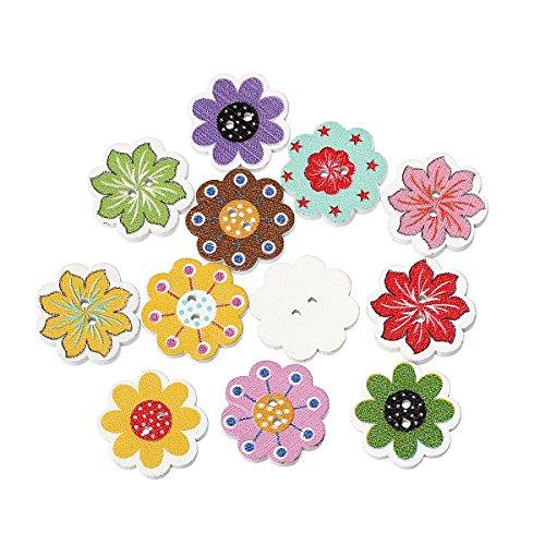 The Bead and Button Box-10botones de madera, 20mm, Mezcla de colores y flores. Ideal para costura, tejer, fabricación de tarjetas, álbumes de recortes y otros proyectos de manualidades
