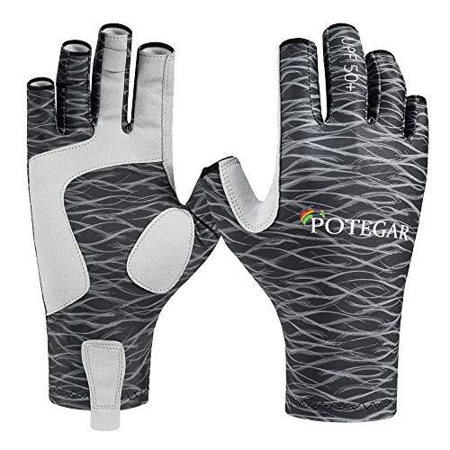 POTEGAR Sonnenschutz Fingerlose Angelhandschuhe UPF 50+ Herren Damen UV Handschuhe für Kajakfahren, Paddeln, Wandern, Radfahren, Fahren, Schießen, Training, schwarz, L-XL