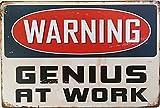 avertissement Genius at Work rétro vintage Tin Sign 30,5x 20,3cm; recto verso, une carte postale fabriqué par Smiel Buy est inclus