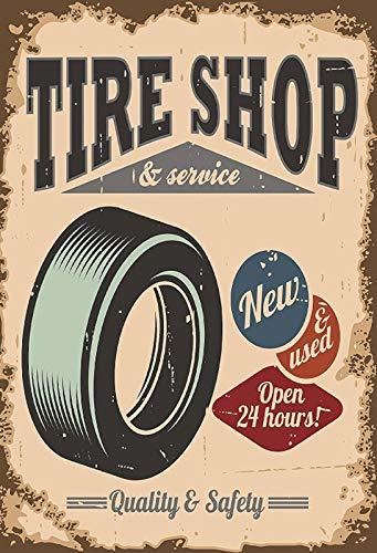 Targa generica in Metallo 20 x 30 cm Tire Shop & Service Garage Pneumatici Officina Targa Auto