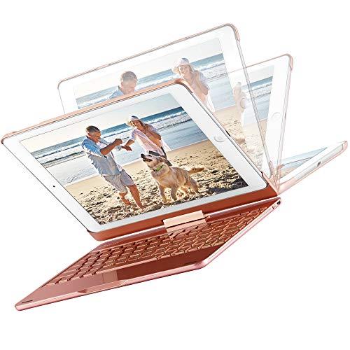 MAD GIGA Madgiga iPad 9.7 2018/2017 iPad Pro 9.7 / iPad Air/Air 2 Tastatur Hülle Keybord Case drahtlose tragbare Bluetooth Tastatur 7 Farbe Hintergrundbeleuchtung, aufstellbar klappbar, Rose Gold (Ipad2 Case Mit Tastatur)
