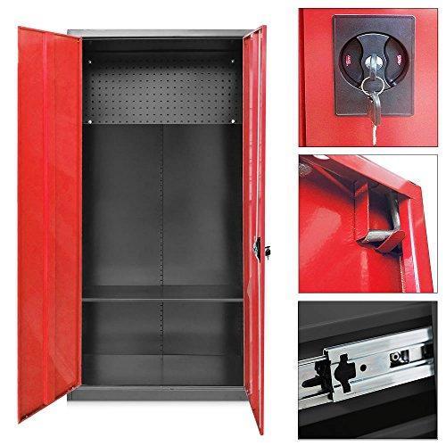Melko® Werkzeugschrank / Metallschrank, Schwarz / Rot, abschließbar, ca. 180 x 90 x 39 cm (H x B x T), mit verstellbarem Fachboden
