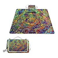 TIZORAX Colorful Psychedelic Mandala Fractal Picnic Blanket Waterproof Outdoor Blanket Foldable Picnic Handy Mat Tote for Beach Camping Hiking