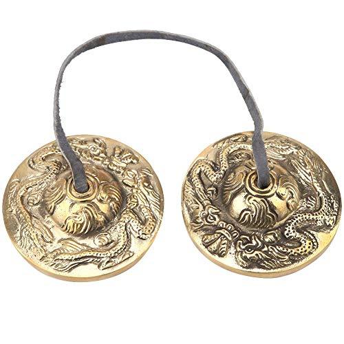 Hilitand Tibetische Meditations-Glocke, Percussion-Instrument, buddhistischer Tempel, Messing, handgeschliffen, tibetische Meditation, Glocke, handgefertigt, 6,5cm, 3