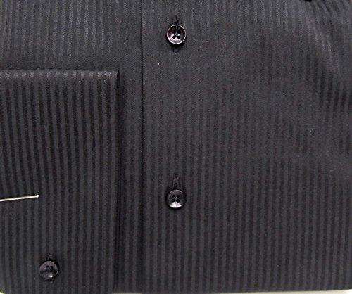 MUGA Homme Chemise à manches extra longues, cintrée Noir