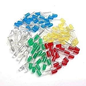 WINOMO 5 colori 3 millimetri rotonda diodo Superbright LED luci 100pz