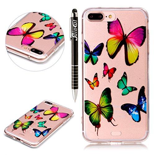 iPhone 7 Plus Hülle,SainCat iPhone 7 Plus Silikon Hülle Tasche Handyhülle Cartoon Retro Muster [Löwenzahn] Schutzhülle Transparent TPU Gel Case Bumper Weiche Crystal Kirstall Clear Silikonhülle Durchs Bunte Schmetterlinge