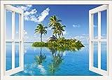 Artland Qualitätsbilder I Wandtattoo Wandsticker Wandaufkleber 100 x 70 cm Landschaften Fensterblick Foto Weiß A8JZ Paradies Insel Palmen Meer