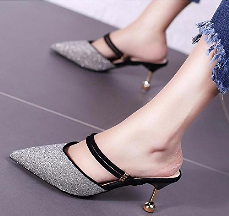 GTVERNH Baotou Señaló De Verano Bien Moda Señoras Dos Desgaste Salvaje 6Cm Solo Zapatos Cool Arrastrar Treinta...