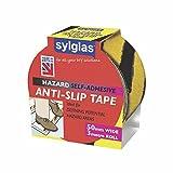 Sylglas - Cinta adhesiva antideslizante (50 mm x 3 m), color negro y amarillo