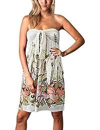Da donna estate Angela triangolare tubo lunghezza al ginocchio, vacanza vestito, motivo floreale
