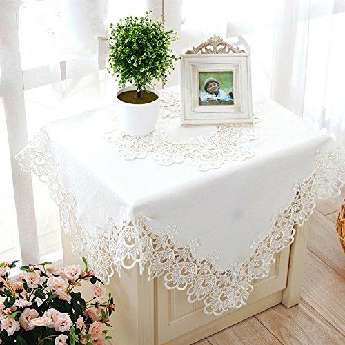 TRE Europäische weiße bestickte Tischdecke/Quadrat Runde durchbohrten Spitzen Tischdecke-A 150x150cm(59x59inch) -