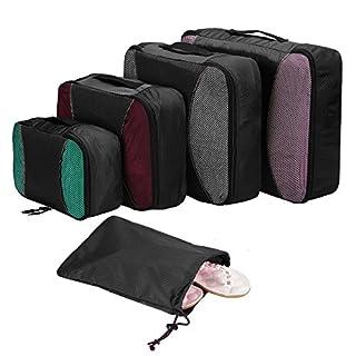 Sailnovo 4pcs Kleidertasche Packwürfel Kleidertaschen Packtaschen Koffer mit Wäschesack Packing Cubes 【Sparen Sie mindestens 20% Platz】 (Schwarz)