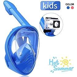 IMMEK Masque de Plongée, Masque Snorkeling Plein Visage 180° Visible, Antibuée Anti-Fuite sous-Marine, Snorkel Masque avec la Support pour Caméra de Sport, Adapté pour Enfant (Bleu)