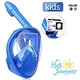 IMMEK Masque de Plongée, Masque Snorkeling Plein Visage 180° Visible, Antibuée Anti-Fuite sous-Marine, Snorkel Masque avec la Support pour Caméra de Sport, Adapté pour Enfant (Bleu-1)