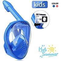 IMMEK Maschera Subacquea,Snorkeling Maschera Full Face 180 ° Visualizza Design panoramico,Anti-Fogging Anti-Leak con Cinghie Regolabili con Supporto Telecamera per Bambini-Blue