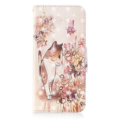 ZCXG Kompatibel mit Samsung Galaxy J6 2018 Hülle, Tiermuster, Leder, Flip Standfunktion, stoßfest, schlankes Design, Kartenschlitz, Magnetverschluss, Transparent #Cat Flower Pink