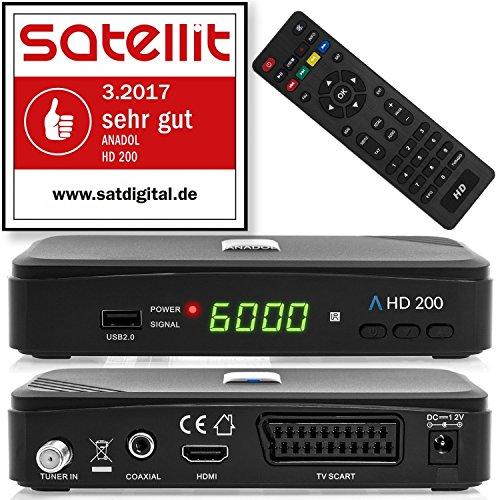 Anadol HD 200 HDTV digitaler Satelliten-Receiver mit (HDTV, DVB-S2, HDMI, SCART, USB 2.0, Full HD 1080p) [vorprogrammiert] - schwarz