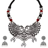 #7: Jewels Emporium Antique Oxidized Silver Tribal Peacock Adjustable Choker Boho Statement Necklace With Big Jhumki Jhumka Earrings For Women