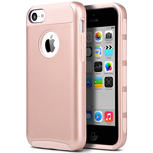 iPhone 5c Case, ULAK iPhone 5c Case Dual Layer Hybrid Hard PC + TPU Protective Case Cover For Apple iPhone 5c (Rose Gold)