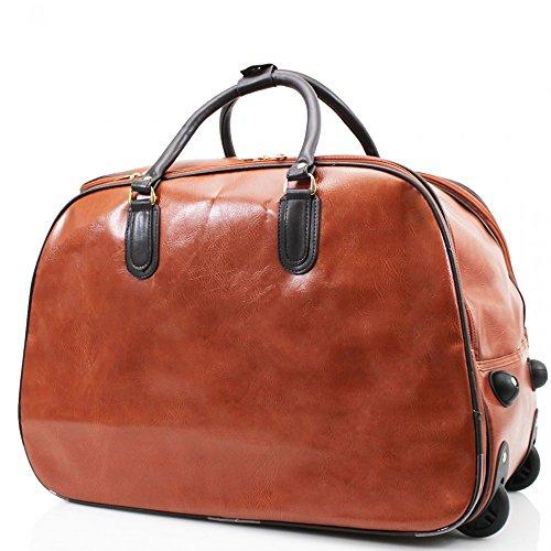 LeahWard® Große Größe Reisetasche Gepäck Reisetasche mit Rad Kabine Hand Taschengage Gym UrlaubWagen Koffer Braun Kunstleder