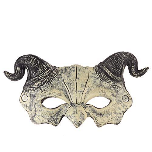 VAWAA Gehörnte Dämon Ziege Mann Maske Pu Schaum 3D Realistische Dämon Ziege Mann Halb Gesicht Maske Maskerade Halloween Kostüm Cosplay Party Requisiten (Gehörnte Brille Kostüm)