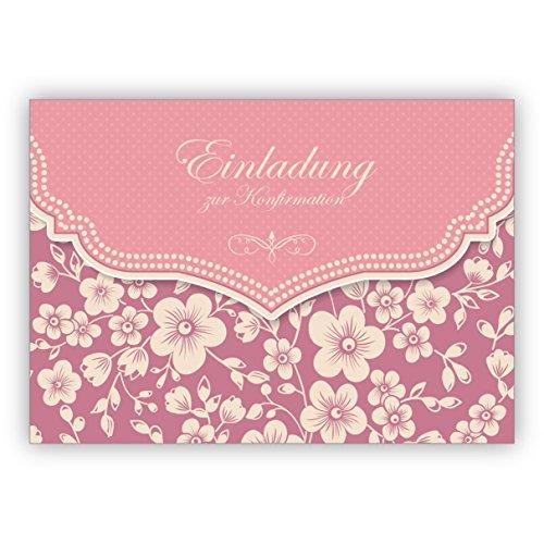 Im 5er Set: Wunderbare Vintage Einladungskarte mit Retro Kirschblüten Muster in rosa für Mädchen: Einladung zur Konfirmation
