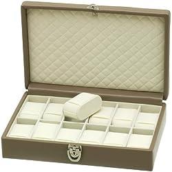 "Davidt's Unisex Watch Box For 12 Watches ""Chrome"" 378912.21 Beige"