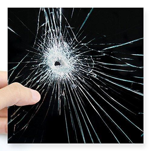 CafePress-rotto in vetro-quadrato adesivo 3-quadrato adesivo paraurti auto decalcomania, 7,6x 7,6cm (Small) o 12,7x 12,7cm (grande) Large - 5x5 Clear