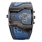 Avaner Fashion Herren Militär Sport Armbanduhr Dual Japanische Bewegung Zwei Zeitzone Analog Display Quarz Blau Lederband Armbanduhr mit dekorativen Sub-Zifferblättern