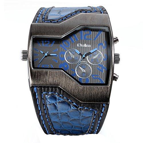 Avaner orologio da polso da uomo militari cinturino in cuoio quadrante grande sub-quadranti falsi colore blu nero