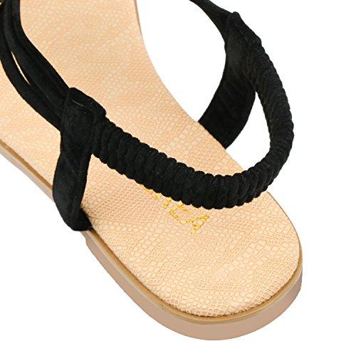 ZOEREA delle ragazze delle signore di estate delle donne piatto Infradito sandali merletto in rilievo scarpe piatte Open Toe ragazza delle donne Scarpe casual Nero