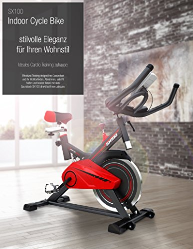 Sportstech Profi Indoor Cycle SX100 mit 13KG Schwungrad, gepolsterter Armauflage, Komfortsattel mit Sitzfederung, Pulsmessung – Speedbike mit flüsterleisem Riemenantrieb – Bodenschutzmatte gratis - 6