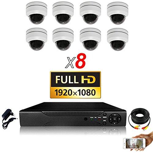 Überwachungskamera-Set, 8 Kameras mit Motorisierte PTZ Zoom X3-6000 GB, 8 Kabel mit 40 m Bildschirmdiagonale Motorisierte Zoom-kameras