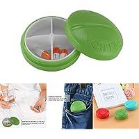 Preisvergleich für FORNORM Pillendose 4 Fächer, Tragbaren Tablettendose Klein Rund, Pocket Medikamentendosierer Pillenbox Vitamindose...