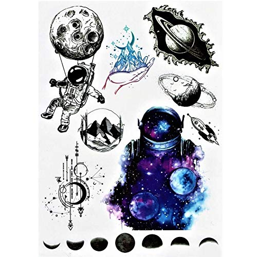 Justfox - tatuaggio temporaneo astronauta, astronauta, astronauta, astronauta, design luna, tatuaggio adesivo temporaneo