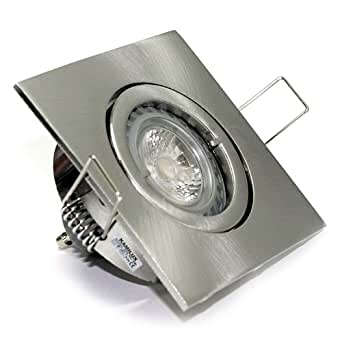 Jojo lot de protection iP20 230 v gU10 spot encastrable en acier inoxydable aspect brossé à 5 w lED high power-lot de 50 w à intensité variable