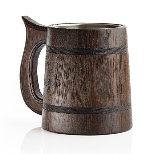 Grande boccale da birra in legno di rovere, realizzato a mano con incredibile capacità artigianale e lavorazione di qualità, rivestito in metallo, robusto, lunga durata dark_2