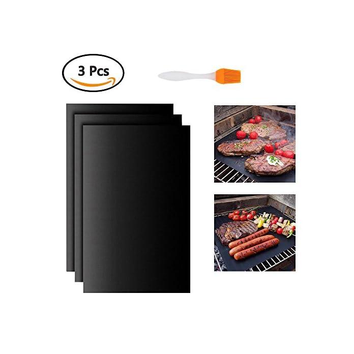 Atpwonz Grillmatte 3er Set Zum Grillen Und Backen Aus Silikon Mit Teflon Antihaftbeschichtung Fr Bis 300c