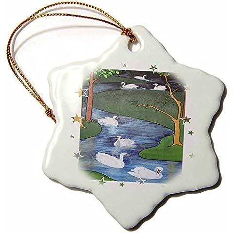 Taiche–pintura acrílica–cisnes–siete cisnes a-swimming–Animal, religioso simbolismo, doce días de Navidad, cisne, Navidad–adornos