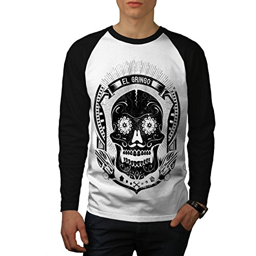 El Gringo Schatten Maske Schädel Herren NEU Weiß (Schwarz Ärmel) M Baseball lange Ärmel T-Shirt   Wellcoda