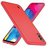 TesRank Funda Samsung Galaxy A10, Suave y Duradera Carcasa de telefono con patrón de Tira [Antideslizante] [Resistente a los Arañazos] TPU Fundas para Samsung Galaxy A10-Rojo