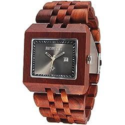 Alienwork Quartz Watch natural solid wood Wristwatch Handmade Red sandalwood black red UM017A-02