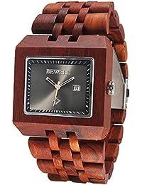 Alienwork Reloj cuarzo madera maciza natural cuarzo hecho a mano Sándalo rojo negro rojo UM017A-02