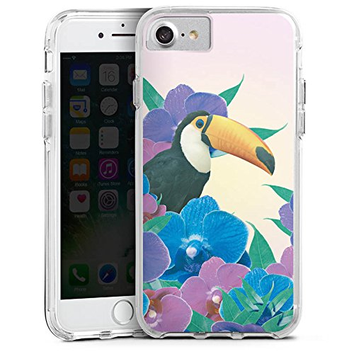 Apple iPhone X Bumper Hülle Bumper Case Glitzer Hülle Papagei Bird Vogel Bumper Case transparent