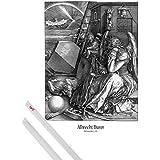 Póster + Soporte: Albrecht Dürer Póster (91x61 cm) Melencolia I, La Melancolía, 1514, N/B Y 1 Lote De 2 Varillas Transparentes 1art1®