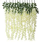 Houda künstliche Glyzinie / Blauregen-Ranke, Seidenblumen-Ranke, Blumendekoration zum selber Aufhängen für Garten und Wohnzimmer, 6 Stück Milchweiß