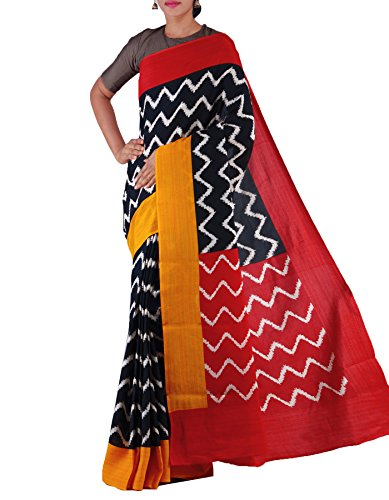 Unnati Silks Women Black-Red Ikat Printed Pochampally Art Silk Saree(UNM23840)